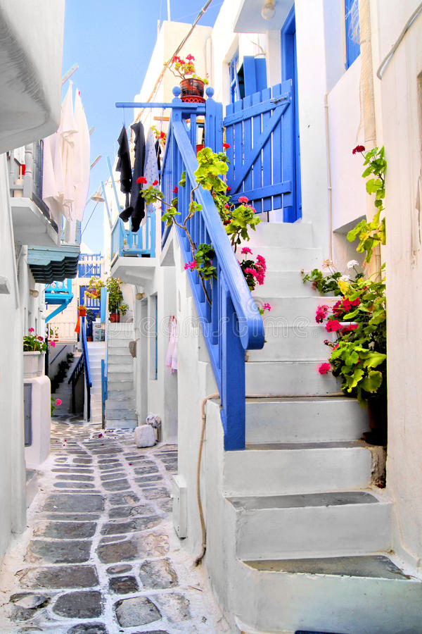 Download Streets of Mykonos stock image. Image of lifestyle, greek - 28168357