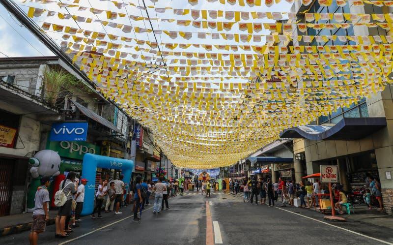 The streets of Naga City during the Street dancing competition of Peñafrancia Civic Parade. NAGA CITY, CAMARINES SUR / PHILIPPINES - SEPTEMBER 13, 2018: The royalty free stock photo