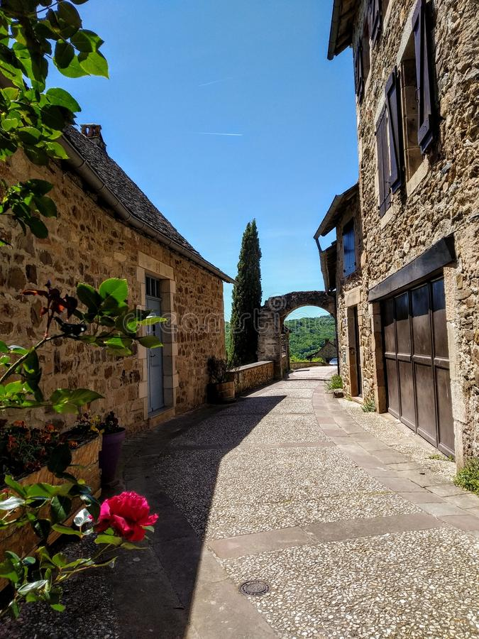 The streets of Najac, France. Picturesque destinations. Old houses made of stone royalty free stock photo