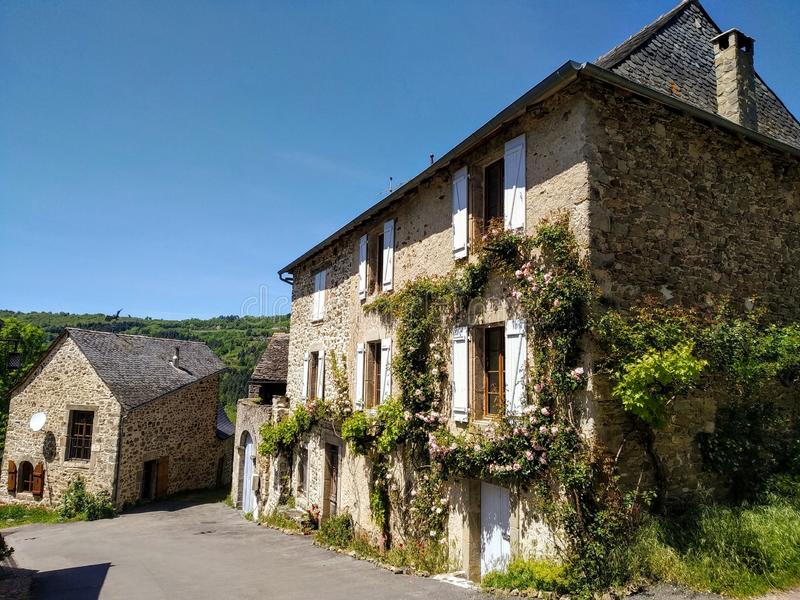 The streets of Najac, France. Picturesque destinations. Old houses made of stone royalty free stock image