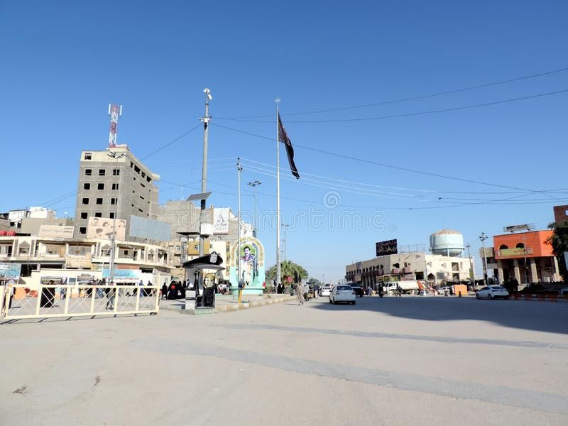 Streets of Najaf. Najaf or al-Najaf al-Ashraf is a city in central-south Iraq about 160 km south of Baghdad. It is the capital of Najaf Governorate. It is widely stock photos