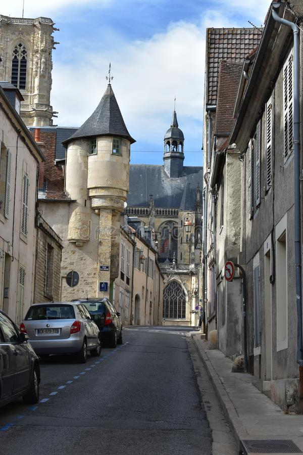 Streets of Nevers - NEVERS - France. Nevers first enters written history as Noviodunum, a town held by the Aedui at Roman contact. The quantities of medals and stock photography