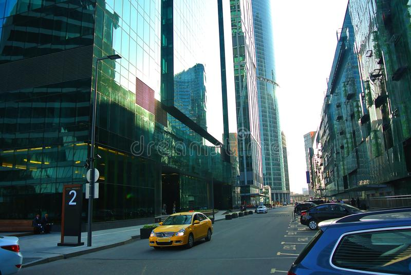 Streets of a new business center in Moscow-city stock photography