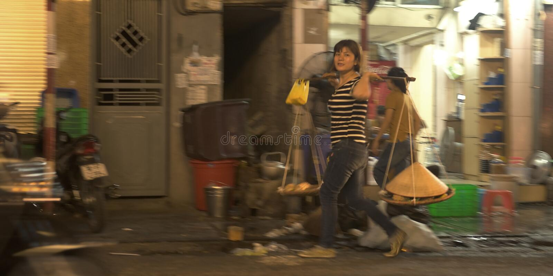 Streets of night Hanoi royalty free stock photography