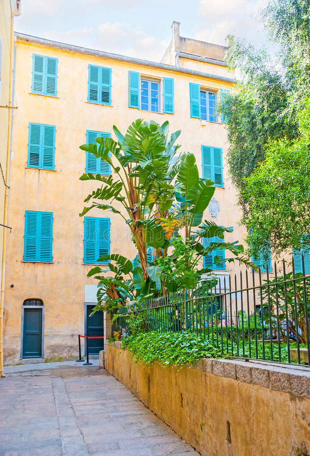The streets of old Ajaccio. The yellow house with bright blue shutters and the small garden in front of it is the place of birth of Napoleon Bonaparte, Ajaccio stock photos
