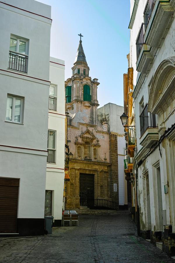Streets in old central part of  ancient town Cadiz, Andalusia, Spain. In summer stock images