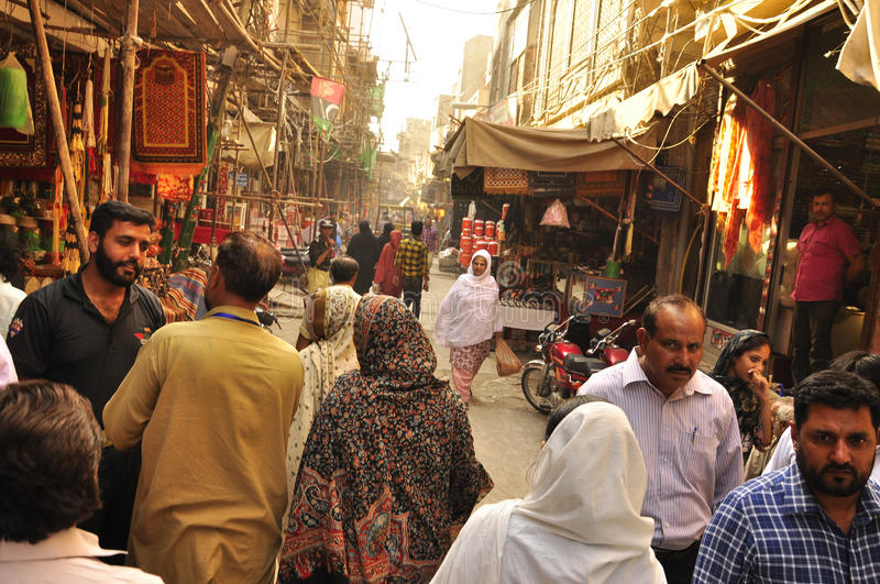 Streets of the old city of Lahore stock photo
