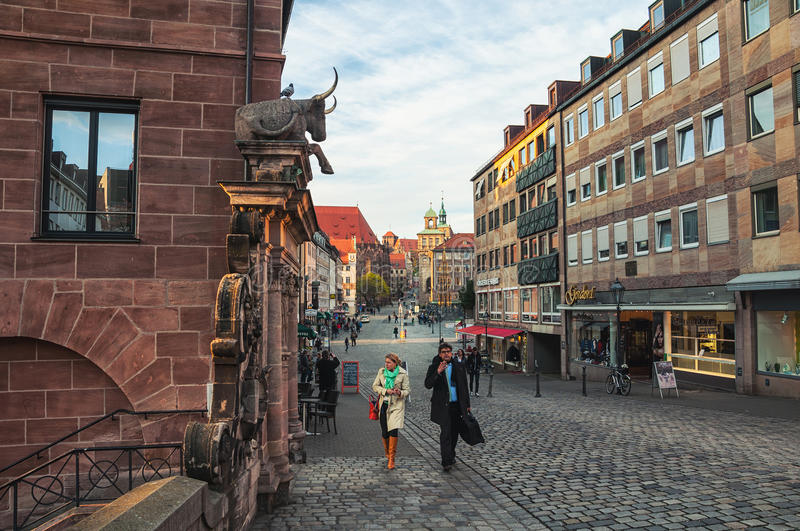 Streets of old city Nuremberg stock photos