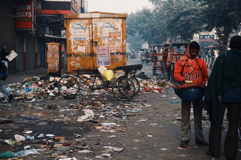 The streets of old Delhi royalty free stock photo