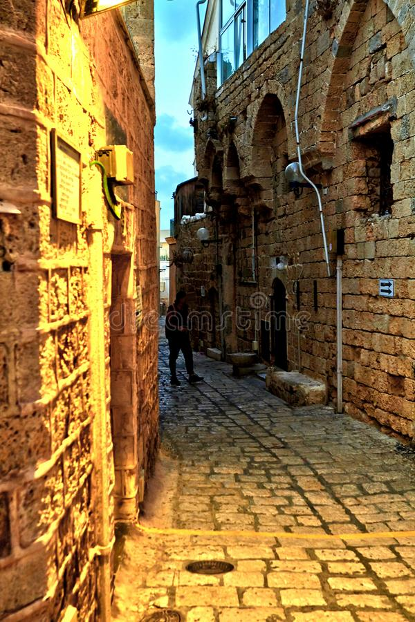 The streets of old Jaffa. At sunset evening July 2018 beautiful alley ancient antique arch architecture brick building castle church city cityscape culture door royalty free stock photography