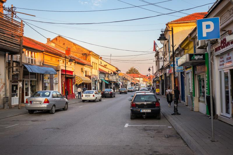 Streets old town Negotin in Serbia at sunset. Streets of historical old town Negotin in Serbia at sunset royalty free stock image