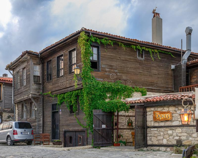 Streets of the old town of Nesebar, Bulgaria stock photo