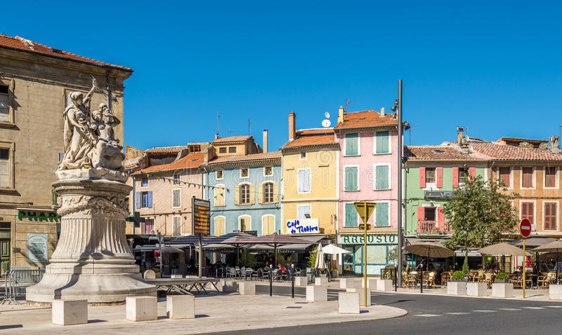 In the streets of Orange city - France. ORANGE,FRANCE - AUGUST 29,2015 - In the streets of Orange city. Orange is a commune in the Provence-Alpes-Cote d Azur royalty free stock image