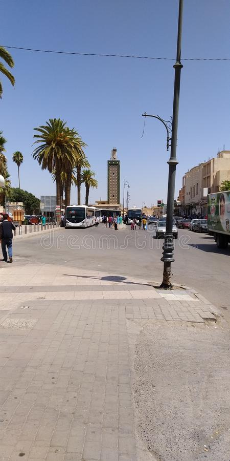 Streets of Oujda, Morocco. With people stock images