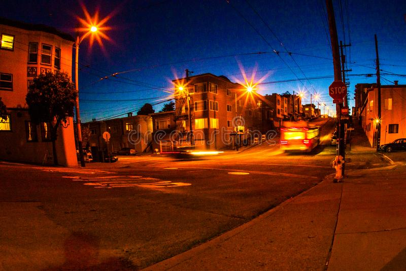 The streets of the outer richmond in san francisco by night, moo. San Francisco, United States - February 15 2013: The moon is shining over the outer richmond royalty free stock image