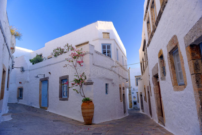 Streets in Patmos royalty free stock image