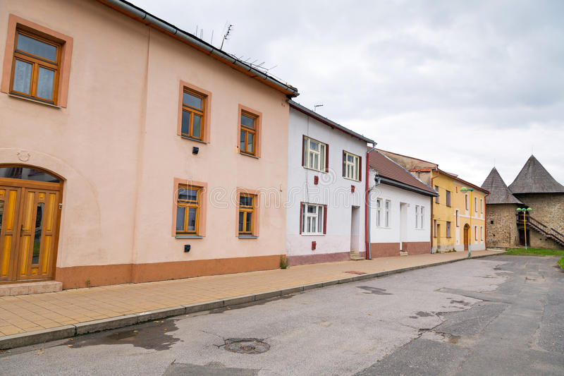 Streets of Podolínec town. In northern Slovakia royalty free stock image