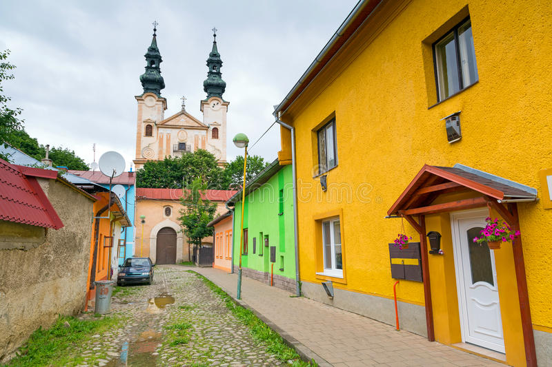 Streets of Podolínec town. In northern Slovakia royalty free stock photo
