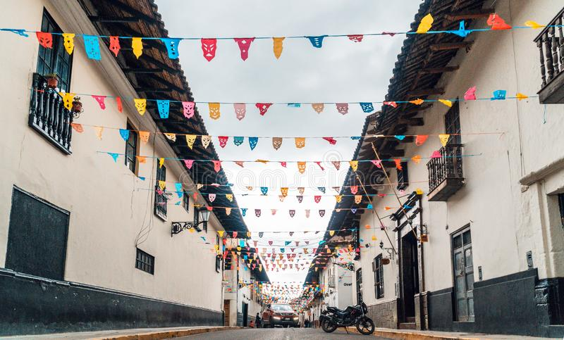 Streets and preparation for the fiesta of the Cajamarca carnival in Peru stock photography