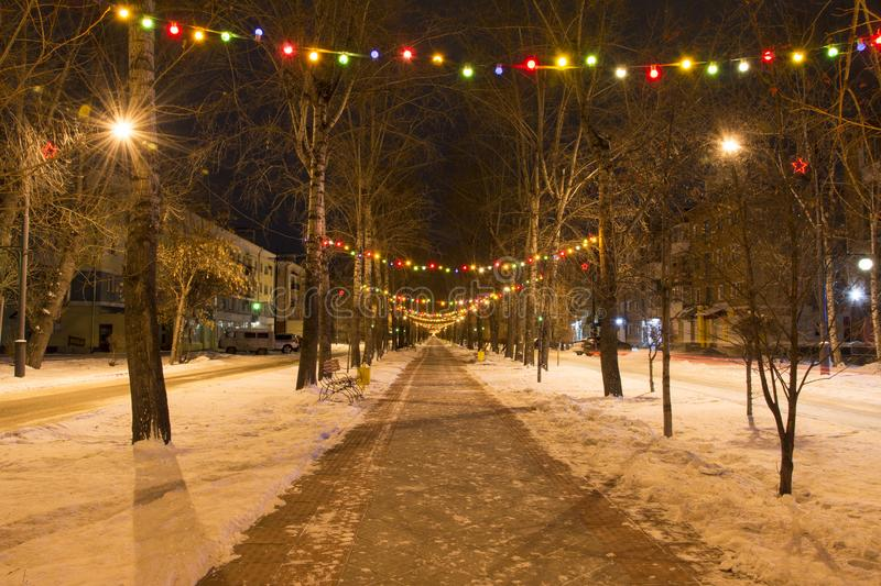 The streets of a provincial town are decorated before Christmas and New Year. Russia. Abakan royalty free stock photography