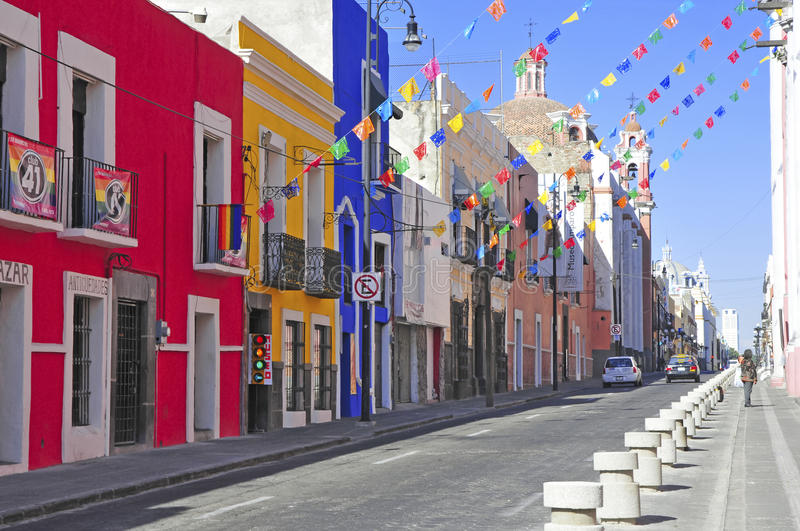 Streets of Puebla City, Mexico. PUEBLA, MEXICO. CIRCA DECEMBER 2012. Characterized by its vibrantly colored buildings and narrow streets, Puebla is a popular stock photos