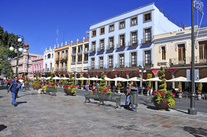 Streets of Puebla City, Mexico. PUEBLA, MEXICO. CIRCA DECEMBER 2012. Characterized by its vibrantly colored buildings and narrow streets, Puebla is a popular royalty free stock image