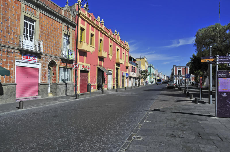 Streets of Puebla City, Mexico. PUEBLA, MEXICO. CIRCA DECEMBER 2012. Characterized by its vibrantly colored buildings and narrow streets, Puebla is a popular royalty free stock photography