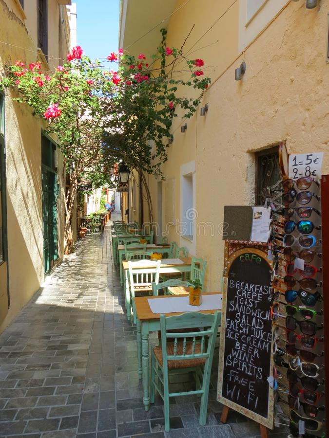 The streets of Rethymno are striking in beauty stock image