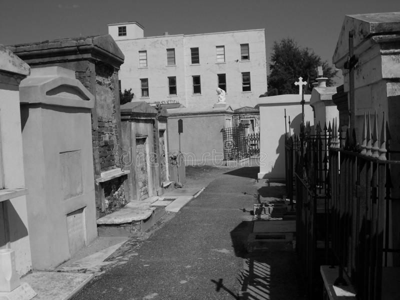 Streets of Saint Louis Cemetery Number One, New Orleans, Louisiana. St Louis #1 Cemetery is the oldest, active, City of the Dead with a spooky beauty that can royalty free stock photos