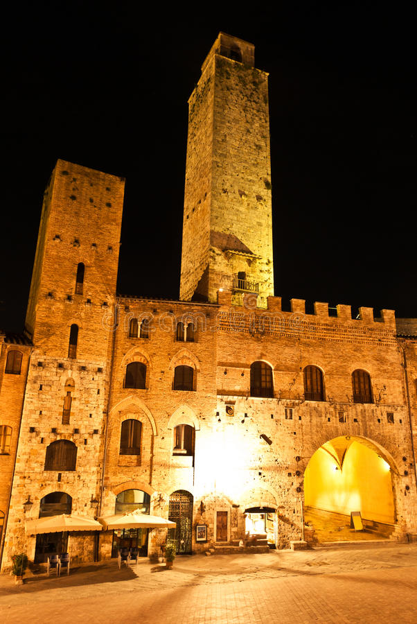 Streets of San Gimignano, in the night royalty free stock image