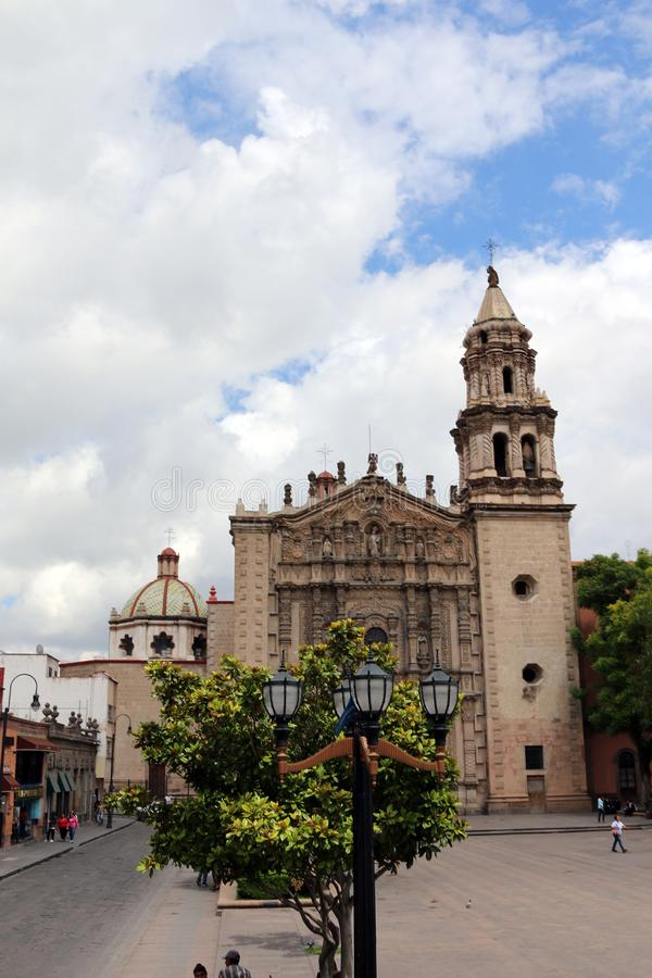 Streets from San Luis. A temple of Gob in San Luis Downtown a sunny day at noon stock photo