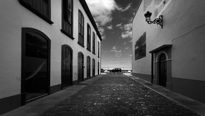 Streets of Santa Cruz de la Palma. Canary Islands. Spain. Black and white stock photo
