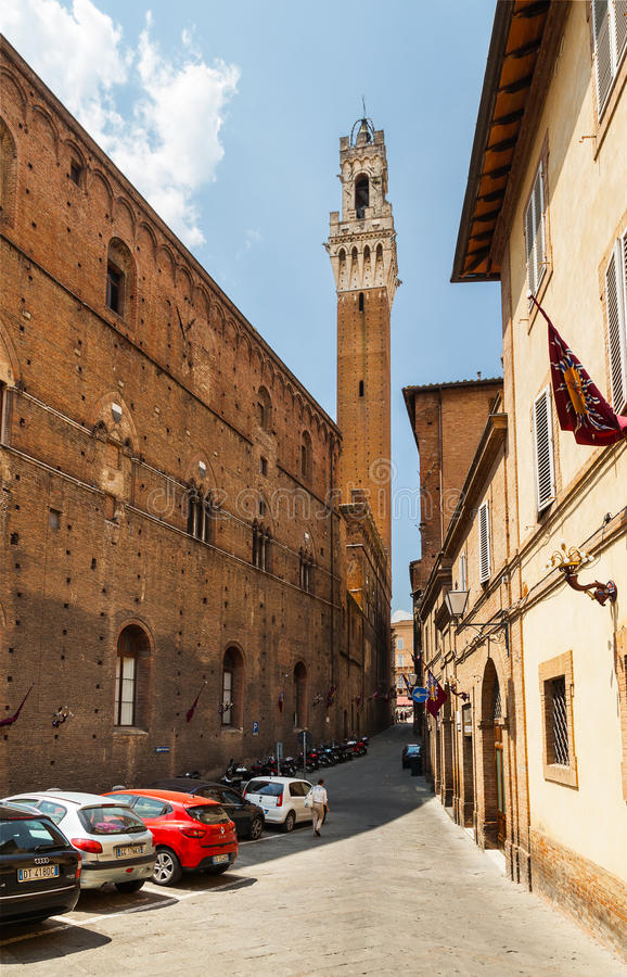The streets of Siena lead to Piazza del Campo. Italy royalty free stock image