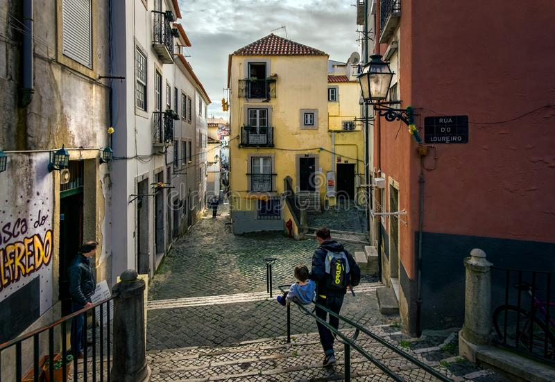 Streets and squares of old Lisbon. Portugal. royalty free stock image
