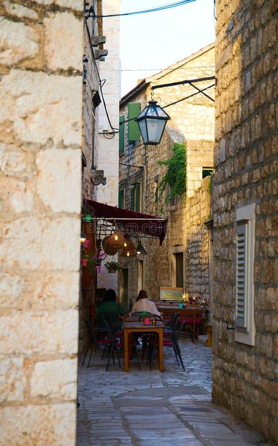 Streets of Stari Grad. Narrow streets of Stari Grad town, Hvar, Croatia royalty free stock photo