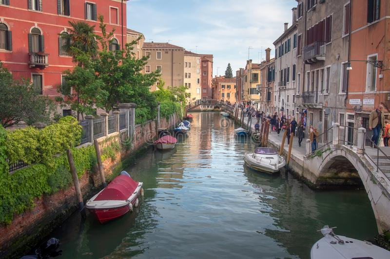 Streets of Venice are filled people, Italy. Sightseeing of Venice royalty free stock image