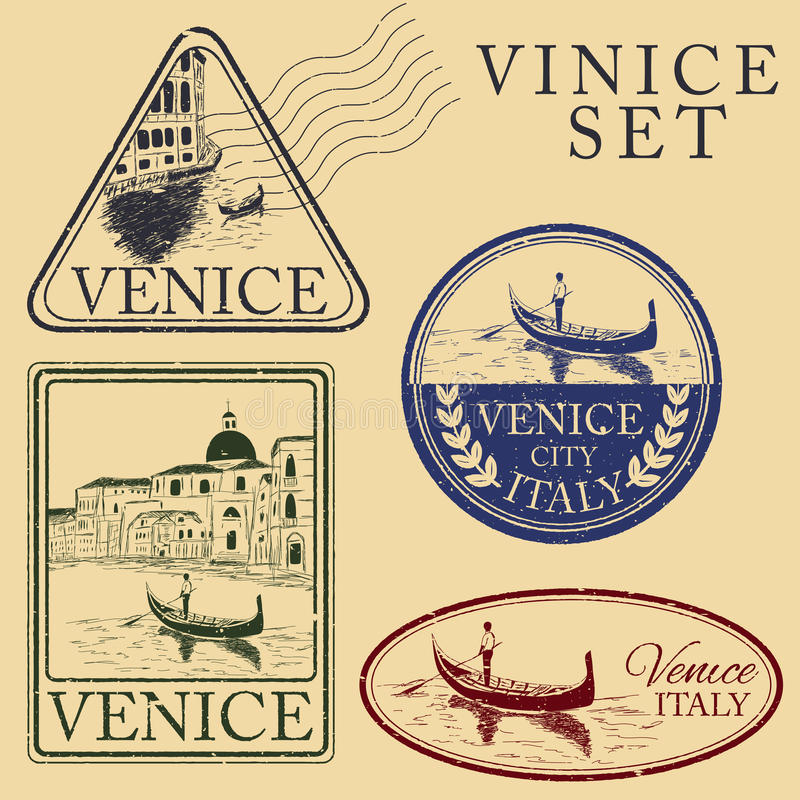 Streets in Venice. Stamp set vector illustration