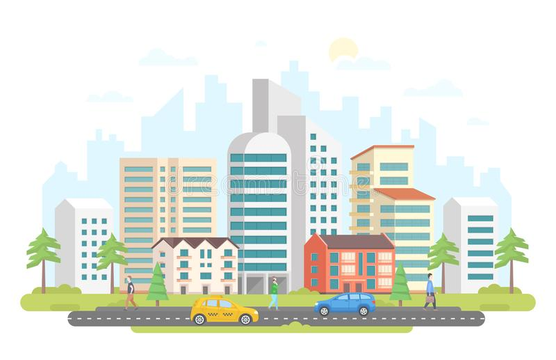 Streetscape - de moderne kleurrijke vlakke vectorillustratie van de ontwerpstijl royalty-vrije illustratie