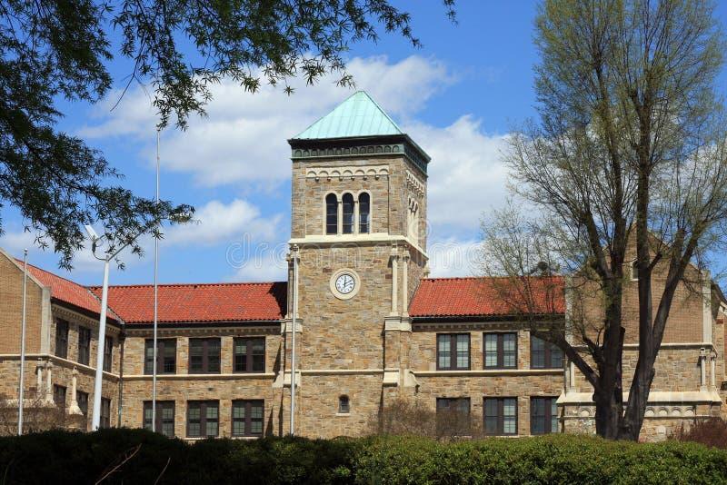 Streetscape Raleigh - средняя школа Broughton стоковое изображение