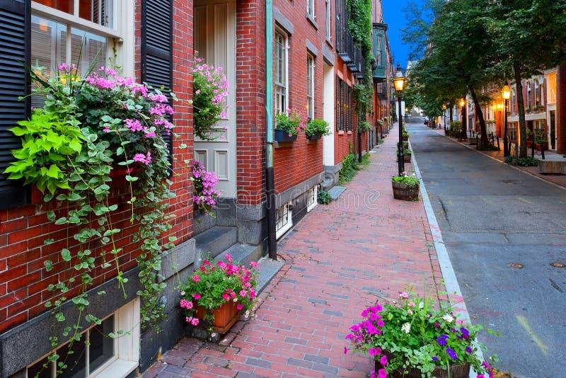 Streetscape van Boston bij Nacht stock fotografie