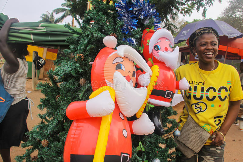 Streetside非洲圣诞节场面 免版税库存图片