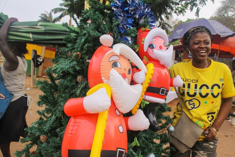 Streetside African Christmas Scene royalty free stock image