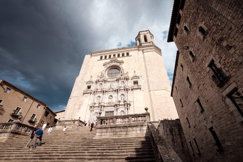 Streetview av Girona arkivfoto