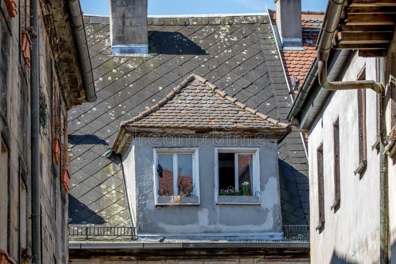 Streetview damaged roof stock photo
