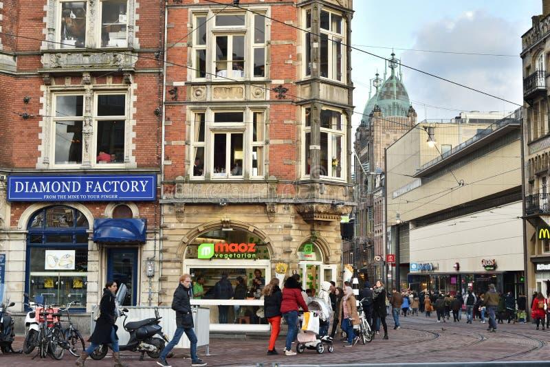 streetview del Amsterdam-centro imagen de archivo libre de regalías