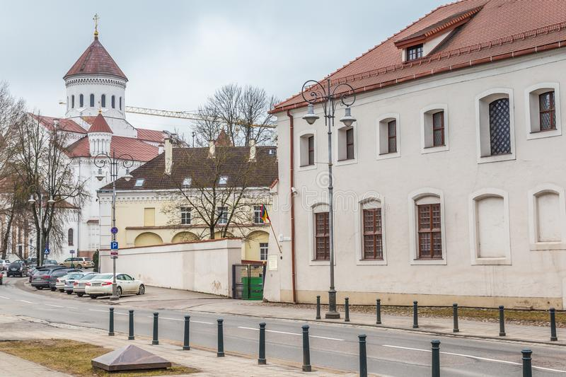 Old town Vilnius Lithuania. Streetview with orhodox cathedral in the old town of Vilius in Lithuania Baltic States Europe stock photo
