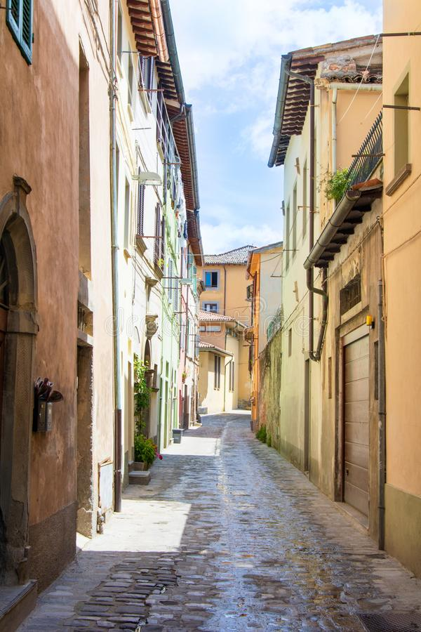 Streetview with typical houses in the umbrian region. Typical scene of umbrian streets with different styles of houses, no people, color stock photos
