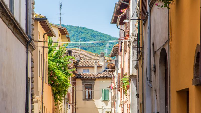 Streetview with typical houses in the umbrian region. Typical scene of umbrian streets with different styles of houses, no people, color stock photography