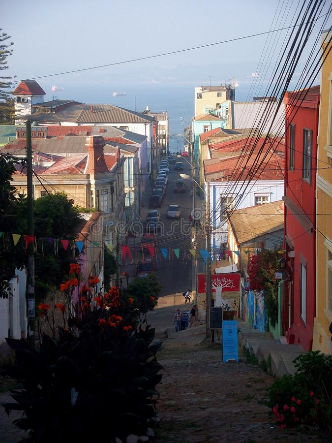 Streetview valparaiso chile colorful wall paintings. And architecture royalty free stock photography