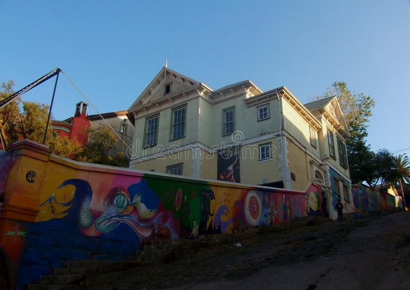 Streetview valparaiso chile colorful wall paintings. And architecture royalty free stock photo